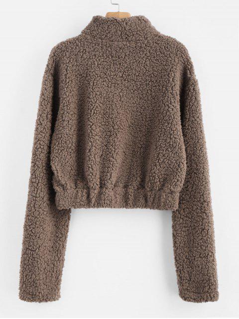 buy Half Zip Fluffy Faux Shearling Teddy Sweatshirt - DEEP BROWN M Mobile