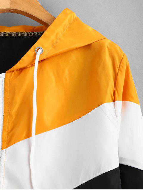 buy Color Block Windbreaker Zip Up Jacket - MULTI S Mobile