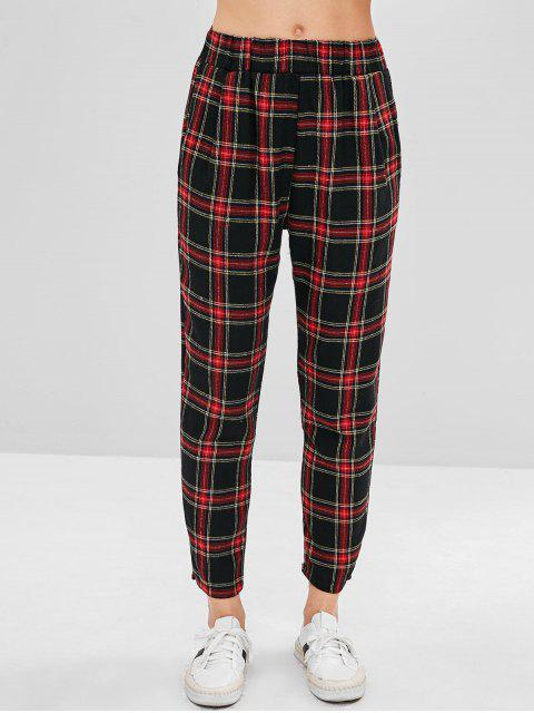 women Plaid High Waisted Straight Pants - MULTI S Mobile