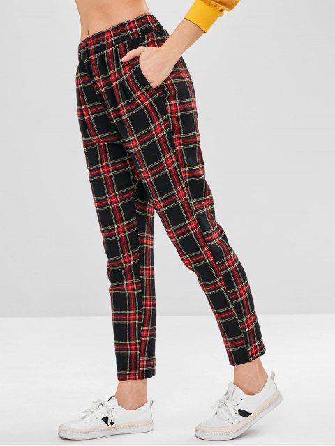 Pantalones rectos de talle alto a cuadros - Multicolor S Mobile