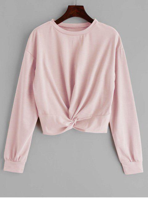 ZAFUL Sweat-shirt Simple Tordu en Avant - Rose Léger  L Mobile