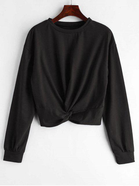 ZAFUL Sweat-shirt Simple Tordu en Avant - Noir L Mobile