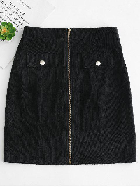 best Front Zip Corduroy Skirt - BLACK M Mobile