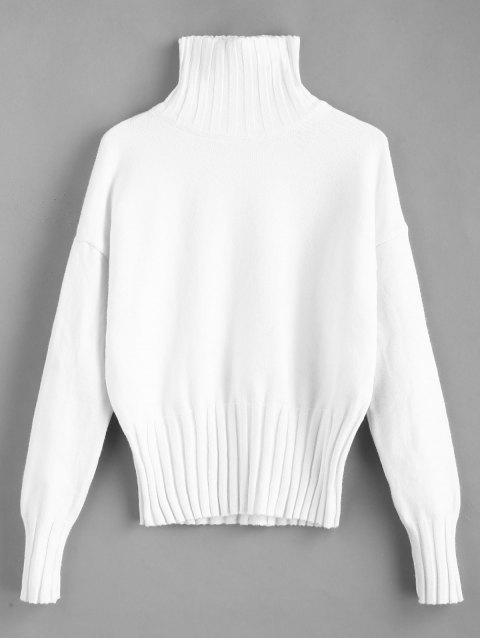 outfits High Neck Drop Shoulder Jumper Sweater - WHITE ONE SIZE Mobile
