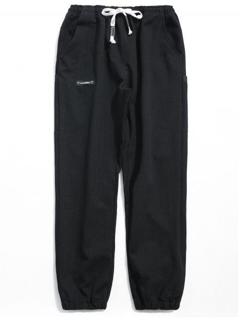 lady Solid Elastic Waist Jogger Pants - BLACK XL Mobile