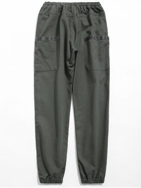 Pantalon de jogging à taille élastique solide - Cendre gris M Mobile