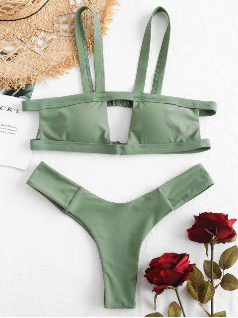 fashion ZAFUL Cutout High Leg Bikini Set - HAZEL GREEN M Mobile
