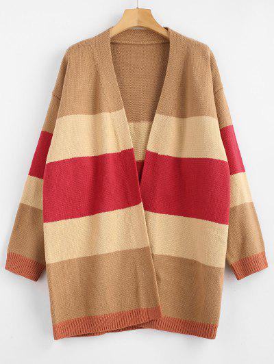 Longline Open Front Striped Cardigan - Multi