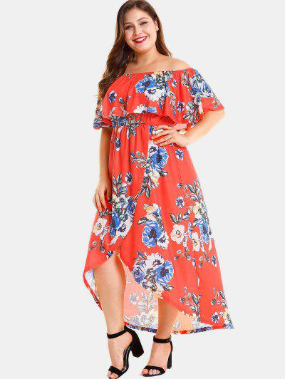 ab99787bb64 ... Plus Size Floral Slit Off Shoulder Dress - Red 3x