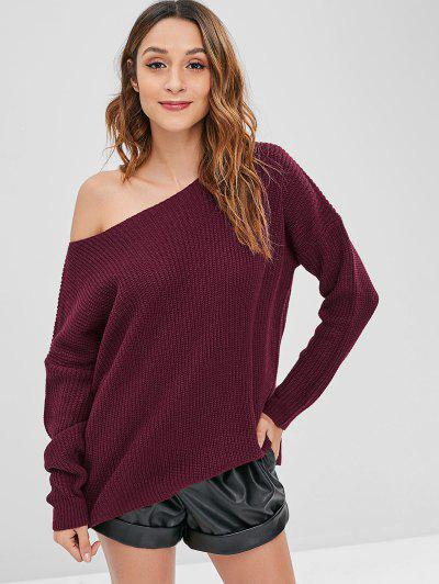 Loose One Shoulder Sweater - Firebrick