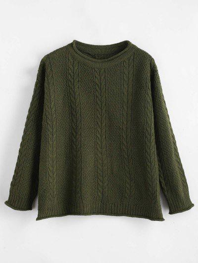 Slit Cable Knit Drop Shoulder Sweater - Army Green