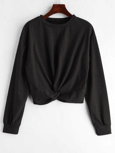 370b8edc919fe ZAFUL Twist Front Plain Sweatshirt - Black S ...
