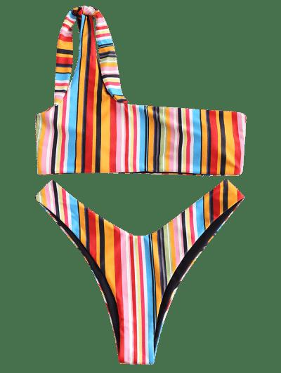 ZAFUL One Shoulder Colorful Striped Bikini Set, Multi-a