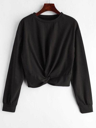 ZAFUL Twist Front Plain Sweatshirt - Black M