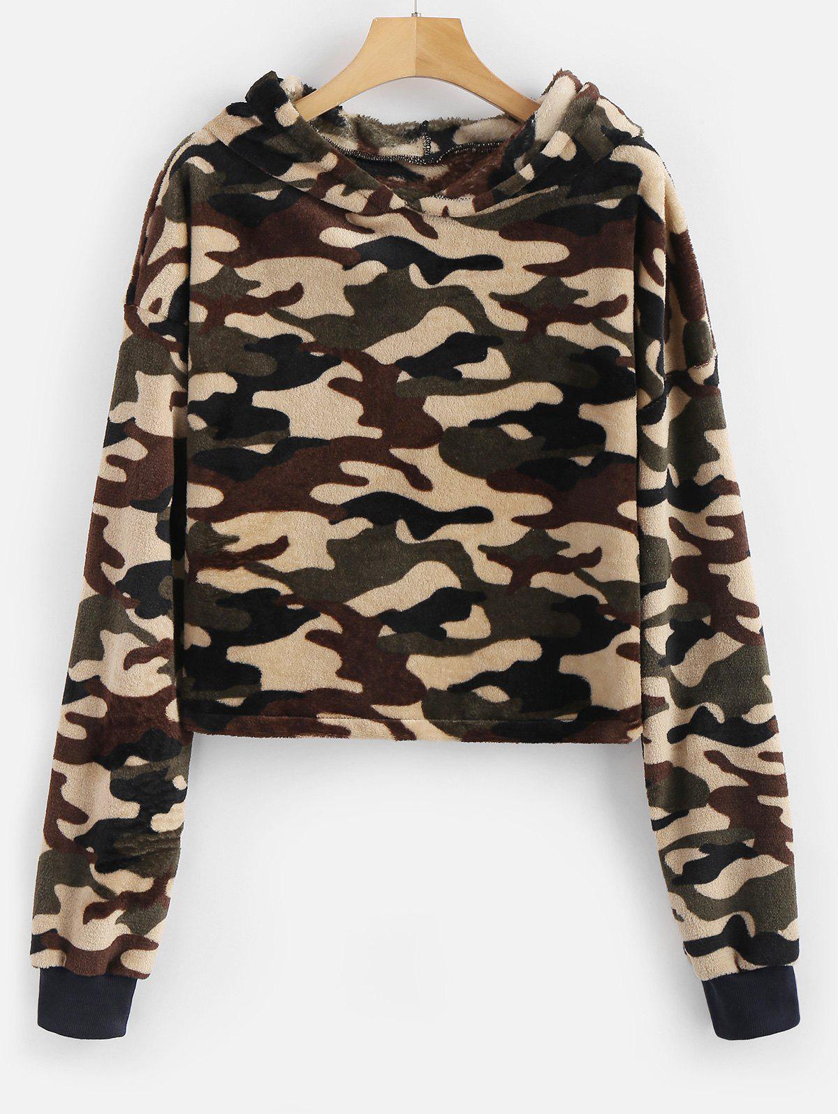 Camouflage Loose Faux Fur Hoodie