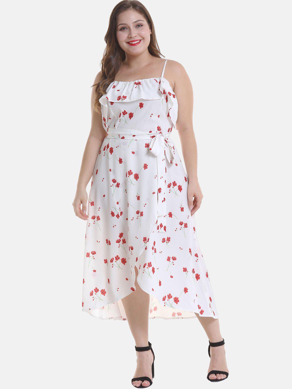 Plus Size Cami Floral Ruffles Dress 327728102