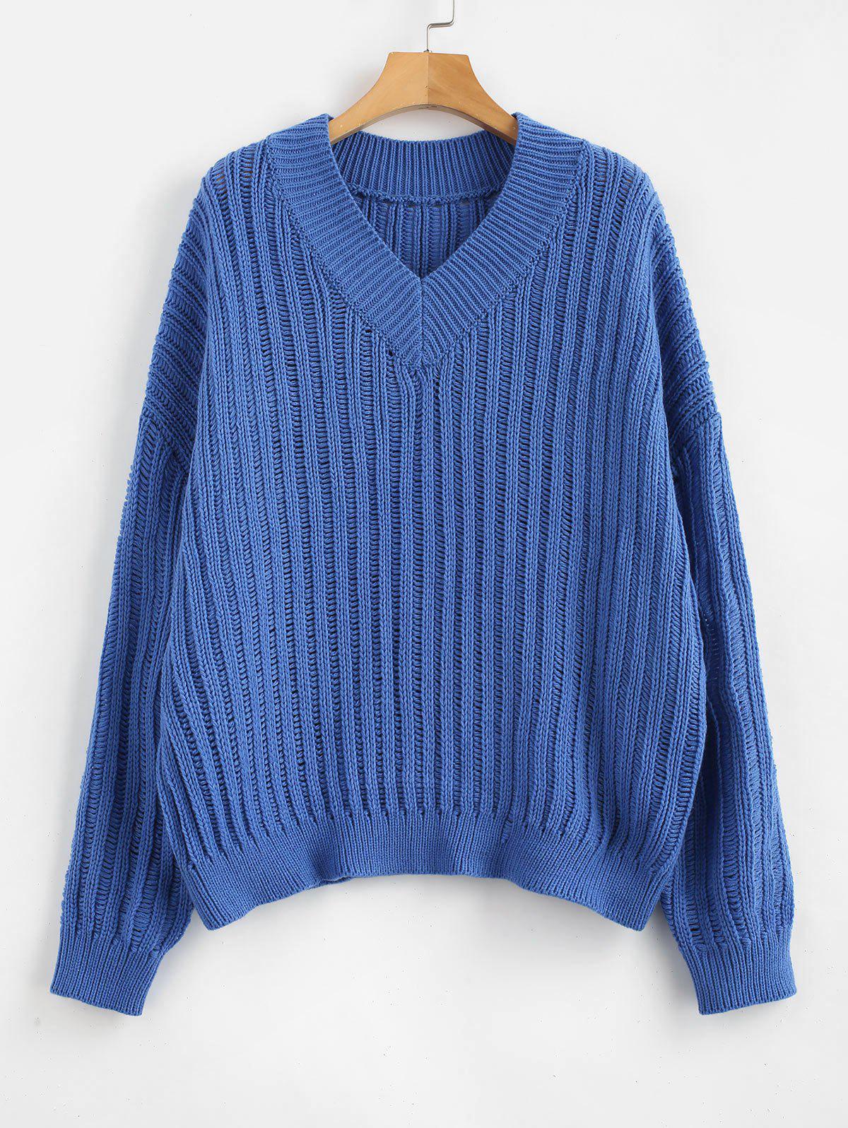 ZAFUL V Neck Oversized Sweater фото