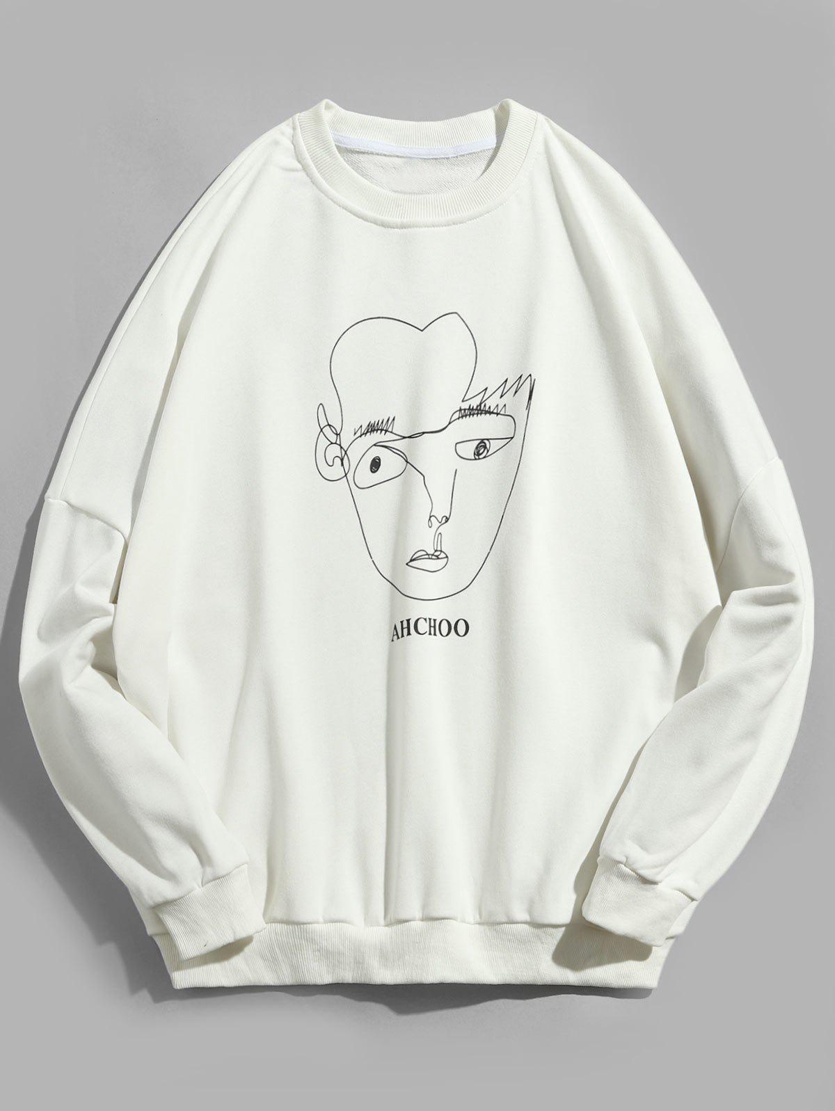 Face Contour Print Pullover Sweatshirt