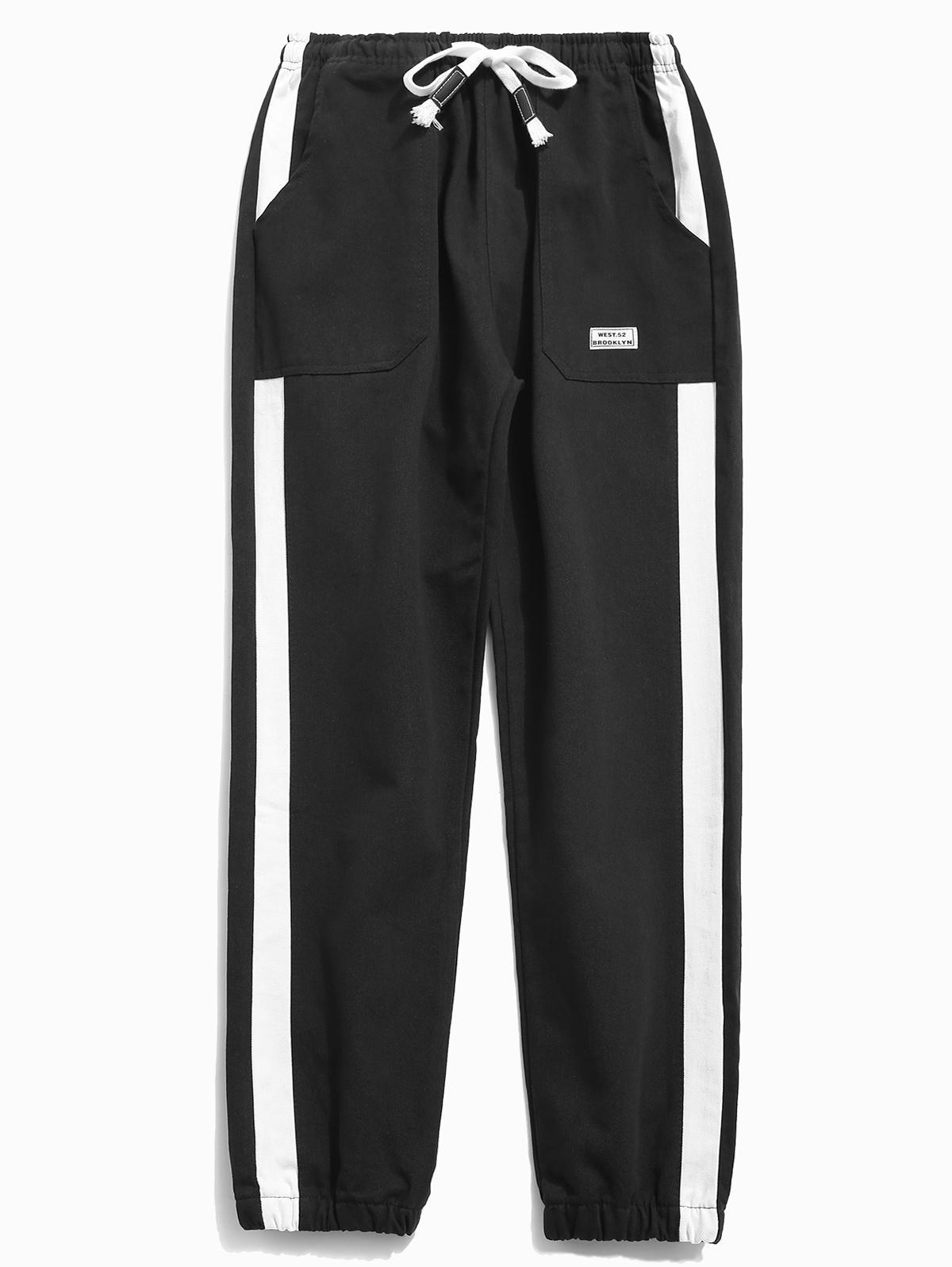 Side Striped Applique Jogger Pants