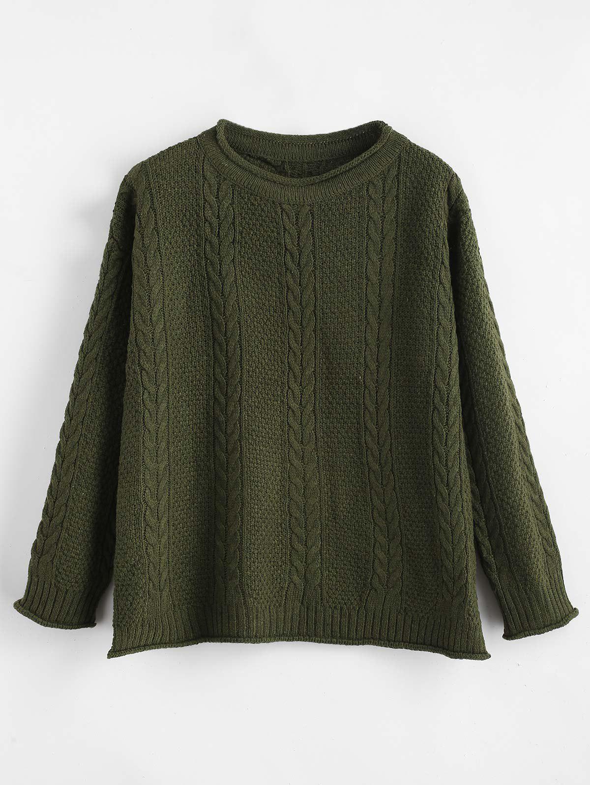 Slit Cable Knit Drop Shoulder Sweater