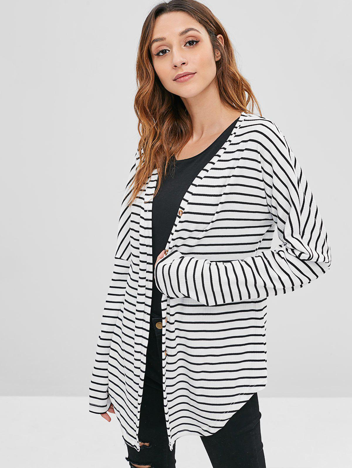 ZAFUL Striped Ribbed Button Front Cardigan