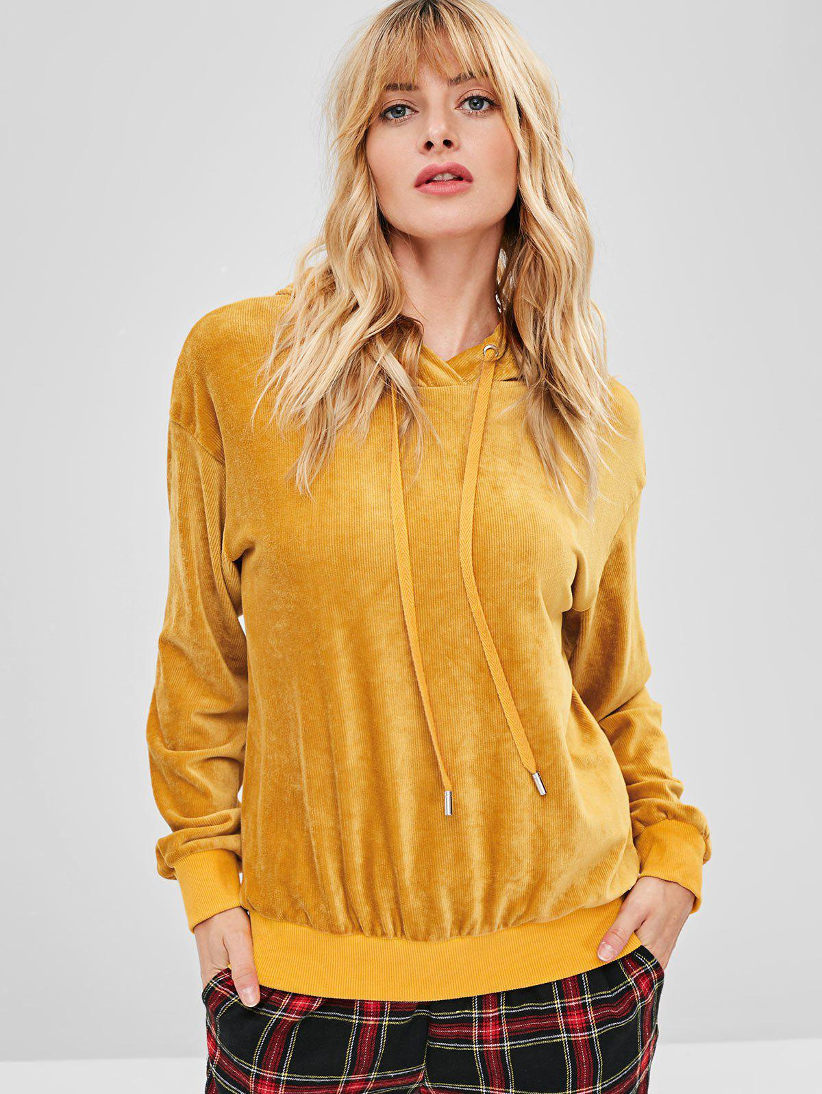 ZAFUL Velvet Tunic Drop Shoulder Hoodie