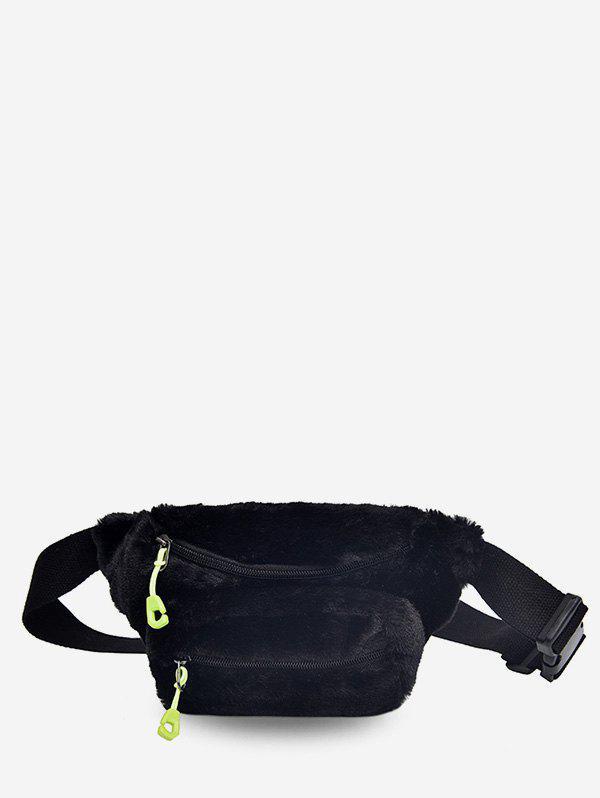 Double Zipper Design Fluffy Leather Crossbody Bag, Black