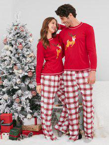 4617438581 31% OFF  2019 Plaid Reindeer Print Christmas Couple Pajamas In RED ...