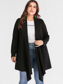مضلع شال الياقة بالاضافة الى حجم معطف - أسود 2x