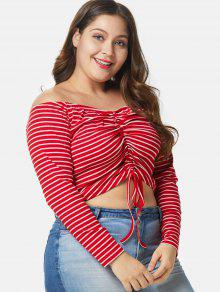 e1f53587 22% OFF] 2019 Off Shoulder Plus Size Striped Crop Tee In RED | ZAFUL