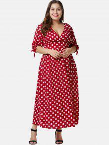 يغرق بالإضافة إلى حجم بولكا دوت ماكسي اللباس - الحمم الحمراء 4x