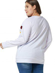 31e421104c4 36% OFF  2019 Plus Size Tunic Color Block Sweatshirt In WHITE