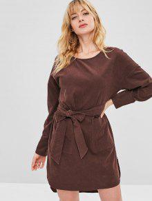 فستان قصير من ZAFUL Corduroy - قهوة L