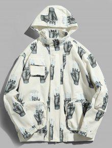 جيوب اليدين طباعة قبعة مخفية - أبيض Xl