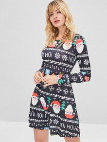 فستان عيد الميلاد المطبوع - أسود L