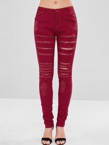 جينز بنمط ممزق - الكرز الاحمر L