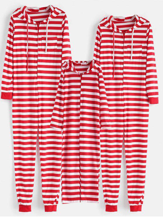 Christmas Pajamas Onesie.Striped Hooded Onesie Christmas Pajama Set Red