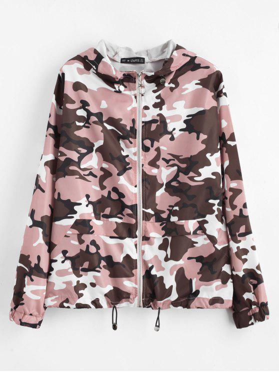 womens ZAFUL Zip Up Camouflage Hooded Windbreaker - ACU CAMOUFLAGE M