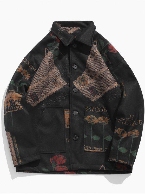fancy Floral Graphic Print Pocket Woolen Coat - BLACK M
