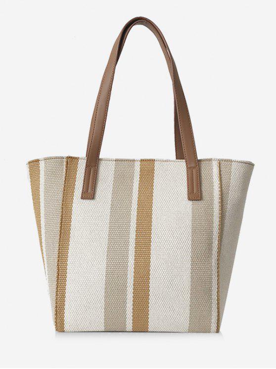 womens Striped Pattern Canvas Large Capacity Shoulder Bag - CARAMEL
