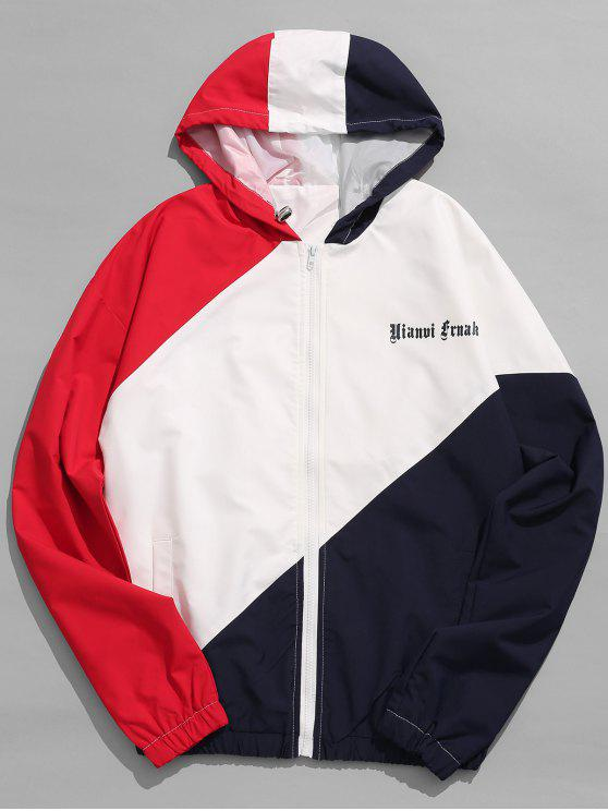 women Graphic Colorblock Hooded Jacket - RED S