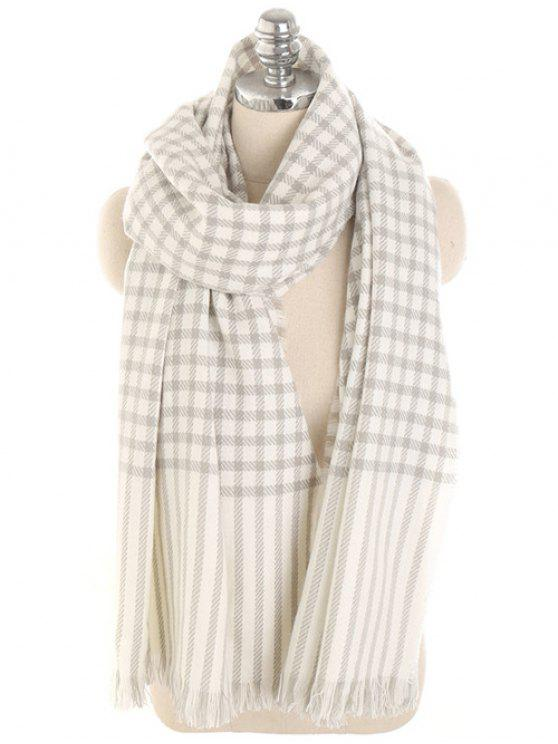 latest Checked Striped Pattern Long Scarf - WHITE