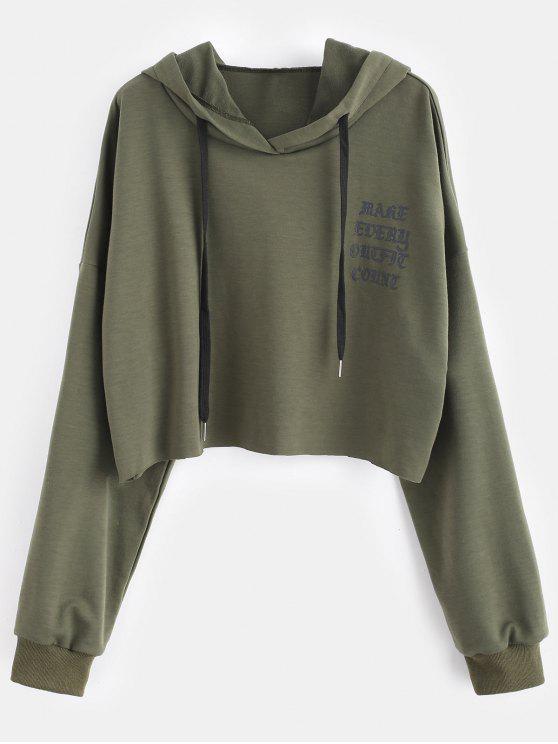 Sudadera con capucha sin mangas con gráfico más elástico - Ejercito Verde 3X