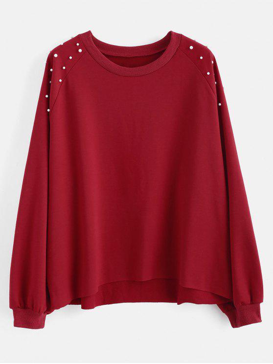 Sweat-shirt Perlé à Ourlet Brut de Grande Taille - Rouge Vineux 1X