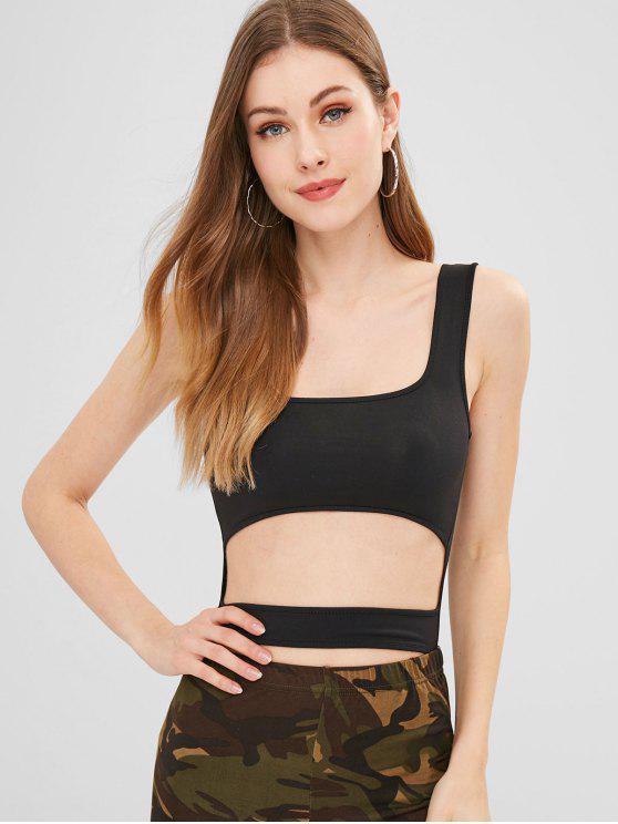 buy Cut Out Plain Sleeveless Bodysuit - BLACK S