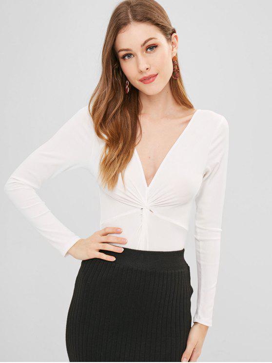 ladies Twist Front High Cut Bodysuit - WHITE S