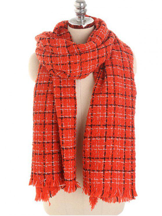 hot Winter Plaid Fringed Scarf - RED