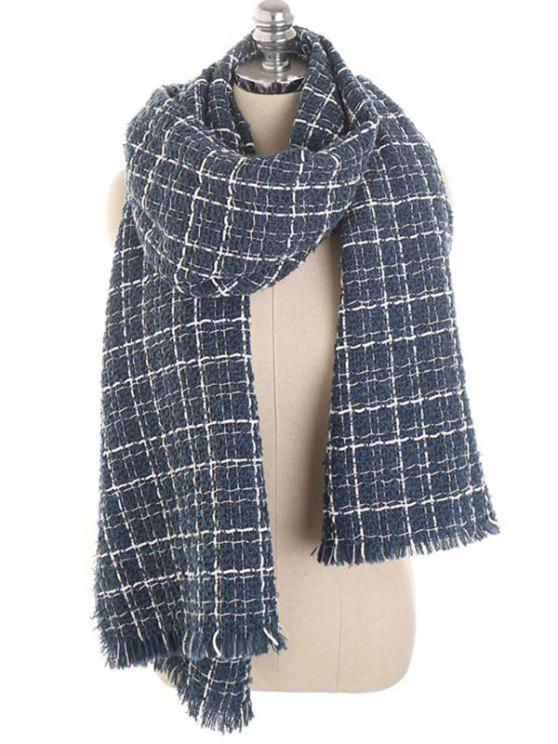 outfits Winter Plaid Fringed Scarf - LAPIS BLUE