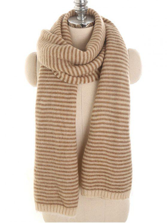 affordable Stylish Striped Winter Long Scarf - BEIGE