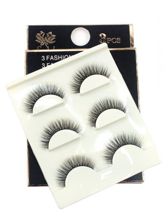 ladies 3 Pairs Handmade Volumizing 3D False Eyelashes Set - BLACK